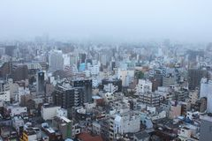 Black and White City Buildings Under White Foggy Sky during Daytime Royalty Free Stock Images