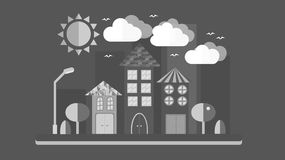 Black and white city landscape in flat style. The city with houses with sloping roof and various beautiful tiles with a lantern su vector illustration
