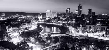 Black and white city panorama Royalty Free Stock Images