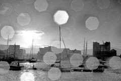 Black and white city scape stock images
