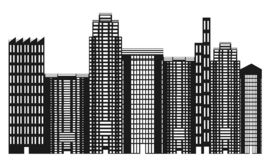 Black and white city skyline Royalty Free Stock Photo