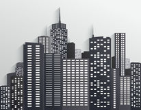 Black and white City Skyline Stock Images