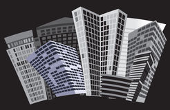 Black and white city. Vector art Royalty Free Stock Images