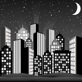 Black and White Cityscape. A cityscape at night. Vector Illustration Royalty Free Stock Image