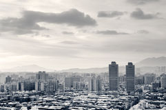 Black and white cityscape Stock Photography