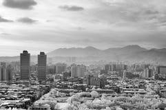 Black and white cityscape Royalty Free Stock Photos