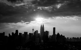 Black and white cityscape Stock Images