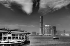 Black and white cityscape of Victoria Harbor Royalty Free Stock Image