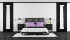 Black and white classic bedroom Stock Images