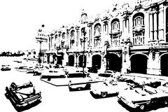 Black and white classic cars in the center of Havana in Cuba. Black and white drawn of Havana city. - vector illustration Royalty Free Stock Photo