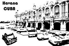 Black and white classic cars in the center of Havana in Cuba. Black and white drawn of Havana city. - vector illustration Stock Image
