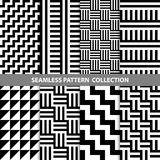 Black White Classic Line Zigzag Vector Abstract Geometric Seamless Pattern Design Collection. Web Stock Image