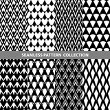 Black White Classic Line Zigzag Vector Abstract Geometric Seamless Pattern Design Collection Stock Photo