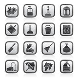 Black and white cleaning and hygiene icons Royalty Free Stock Image