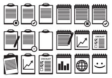 Black and White Clipboard Notebook Vector Icon Set Royalty Free Stock Photography