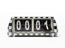 Black-and-white clock. Black-and-white watch - counter isolated on white background Stock Photo