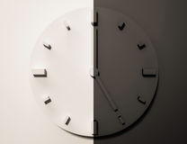 Black and white clock, 3d rendered, day and night Stock Photography