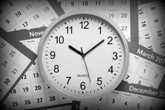 Black and White Clock Royalty Free Stock Image
