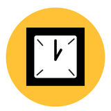 Black and white clock at the round yellow background Stock Photos