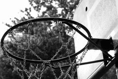 Black and white close up of basketball hoop royalty free stock image