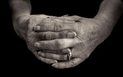 Black and white close up of female pensioners hands. Stock Image