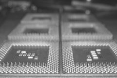 Black and white close-up shot of a CPU chip computer units. Black and white close-up shot of a Central Processor Units pins upside down Royalty Free Stock Photo