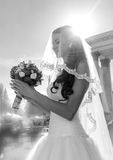 Black and white closeup portrait of cute bride looking at weddin Stock Photography