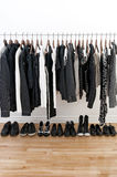 Black and white clothes and shoes stock photo