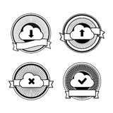 Black and white cloud stamps Stock Photography