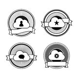 Black and white cloud stamps Royalty Free Stock Image