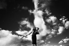 Black-and-white, Clouds, Dress Stock Photos