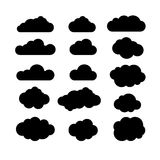 Black and white clouds icon set. Clouds icon shapes. Clouds icon Stock Photography