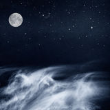 Black and White Clouds and Moon Royalty Free Stock Image
