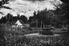 Black and white cloudy picnic Royalty Free Stock Photography