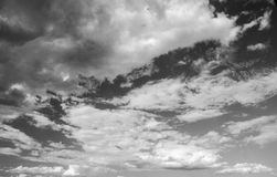 Black and white cloudy sky photo. High resolution natural background Stock Photos