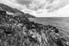Black and White Coast Scene stock image
