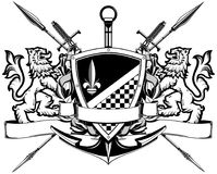 The black white coat of arms Stock Photos