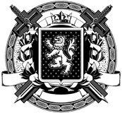 The black white coat of arms Stock Images