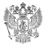 Black and white coat of arms of the Russian Federation Stock Images