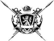 The black white coat of arms Royalty Free Stock Photo
