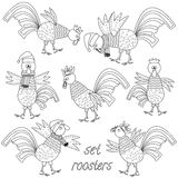Black and white cocks. A set of seven black and white funny cocks, symbol of the year Royalty Free Stock Photos