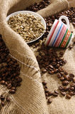 Black and white coffee beans Stock Photo
