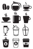 Black and White Coffee Beverages Vector Icon Set Stock Images