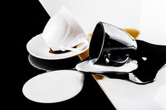 Black and white coffee cups Royalty Free Stock Photography