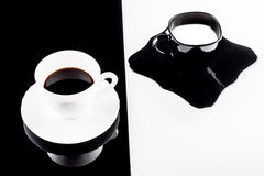 Black and white coffee cups with plates Stock Photography