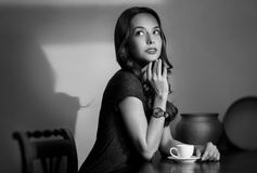 Black and white coffee girl. Stock Images