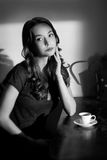 Black and white coffee girl. Royalty Free Stock Photos