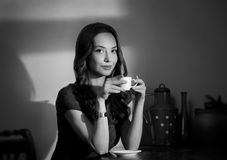 Black and white coffee girl. Stock Photography