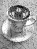 Black and White Coffee with Hearts 2 Stock Photography