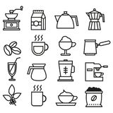 Black and white coffee linear icons collection. Coffee flat icons set vector illustration